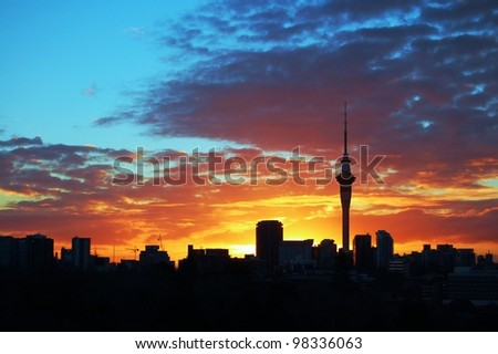 Auckland Sky tower at sunset, taken from Parnell - stock photo
