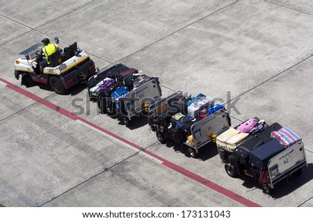 AUCKLNAD - DEC 31:Air transport luggage in Auckland International Airport on Dec 31 2013.In the US, an average of 1 in 150 people have their checked baggage misdirected or left behind each year. - stock photo