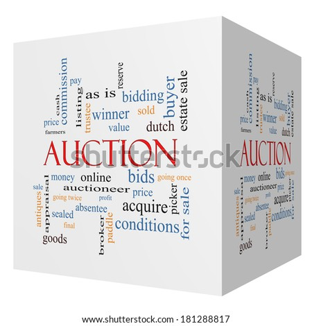 Auction 3D cube Word Cloud Concept with great terms such as price, bidding, online and more. - stock photo