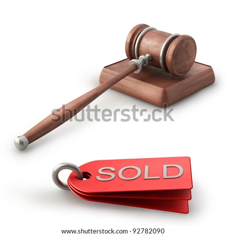 Auction gavel isolated on white background High resolution 3D - stock photo