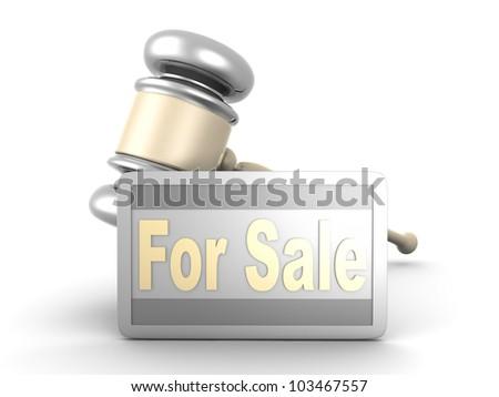 Auction sale symbol. 3D rendered illustration. - stock photo