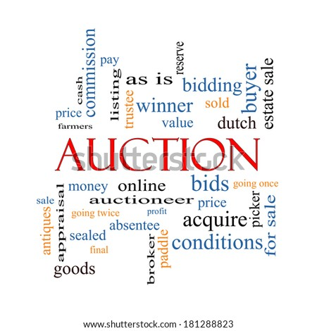 Auction Word Cloud Concept with great terms such as price, bidding, online and more. - stock photo