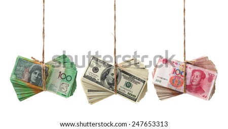AUD, RMB, USD on white background - stock photo