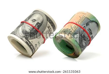 AUD, USD on white background - stock photo