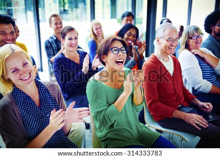 Audience Applaud Clapping Happiness Appreciation Training Concept - stock photo
