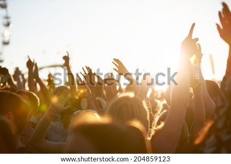 Audience At Outdoor Music Festival - stock photo