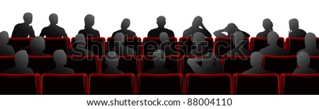 Audience sat in theatre or cinema style chairs - stock photo