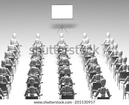 audience watching presentation 3d illustration - stock photo