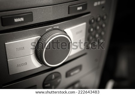 audio and navigation car panel - focus shoot - stock photo