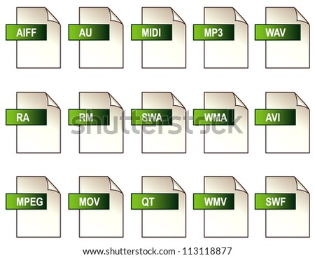 Audio and Video File Format Icons. 15 common digital audio and video file formats isolated on white. - stock photo