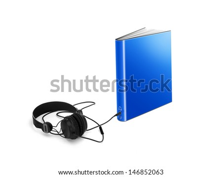 Audio-book with headphones - stock photo