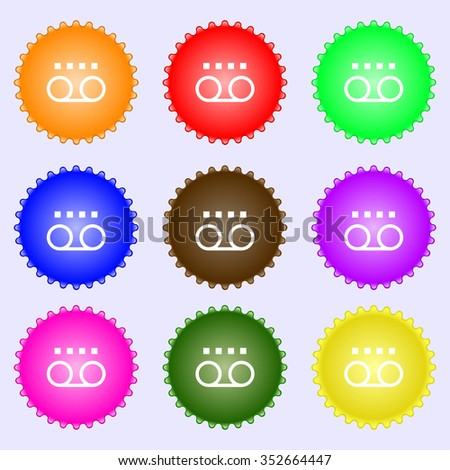 audio cassette icon sign. A set of nine different colored labels. illustration - stock photo