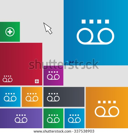audio cassette icon sign. buttons. Modern interface website buttons with cursor pointer. illustration - stock photo
