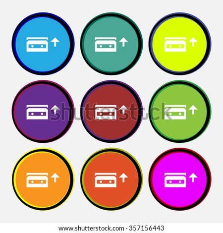 audio cassette icon sign. Nine multi colored round buttons. illustration - stock photo