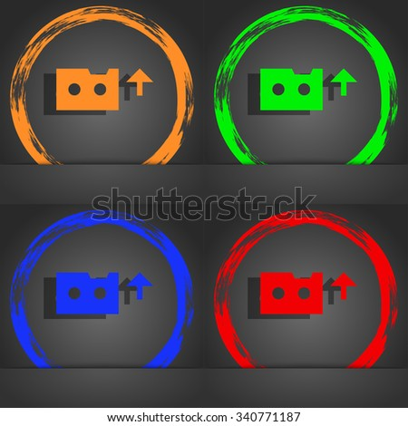 audio cassette icon symbol. Fashionable modern style. In the orange, green, blue, green design. illustration - stock photo