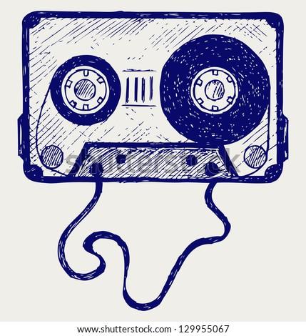 Audio cassette tape. Doodle style. Raster version - stock photo