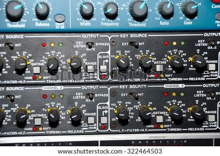 Audio effects processors in a rack. Sound Recording Equipment (Media Equipment). Recording studio. - stock photo