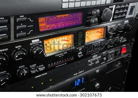 Audio equipment rack - stock photo