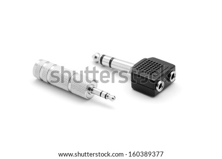 audio jack adapter single to double - stock photo