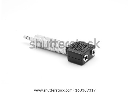 audio jack adapter single to double output - stock photo