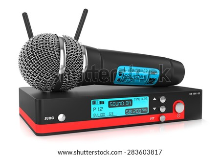 Audio microphone with metal mesh and plastic handle black color touch screen with numbers and letters , isolated on a white background - stock photo