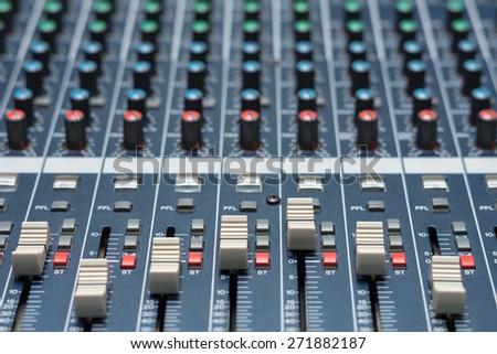 audio mixer, music equipment - stock photo