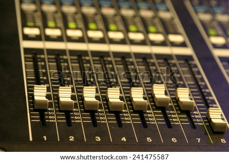 Audio mixing board - stock photo