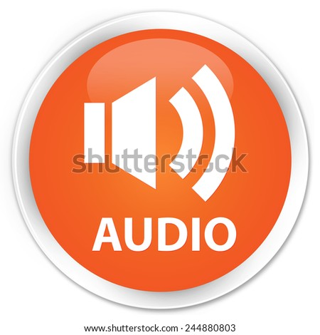 Audio orange glossy round button - stock photo