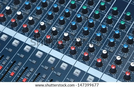 audio panel. - stock photo