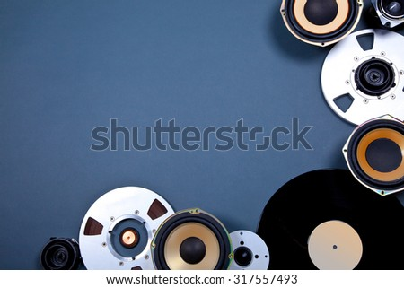 Audio Sound Media Objects Collection Set with Speakers, Tape, Records - stock photo