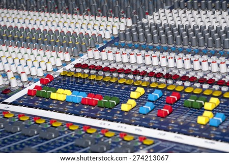 Audio Sound Mixer - Part Of An Audio Production Console / Audio Sound Mixer - stock photo