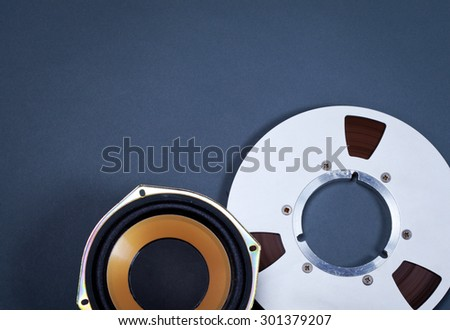 Audio Sound Speaker and Metal Open Reel Objects Collection Set - stock photo
