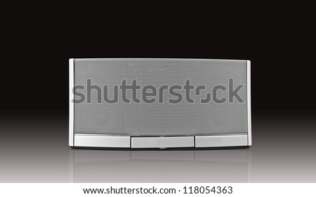 audio speaker on black background - stock photo