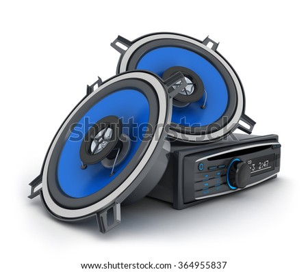 Audio system car (done in 3d, on white background) - stock photo