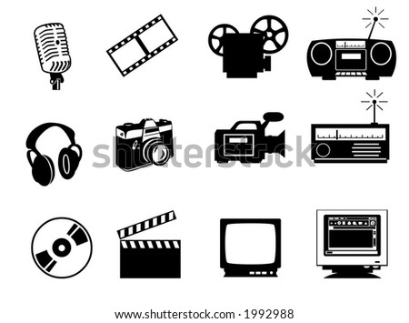 audio, video and photo icons isolated on white background. Contains clipping paths - stock photo