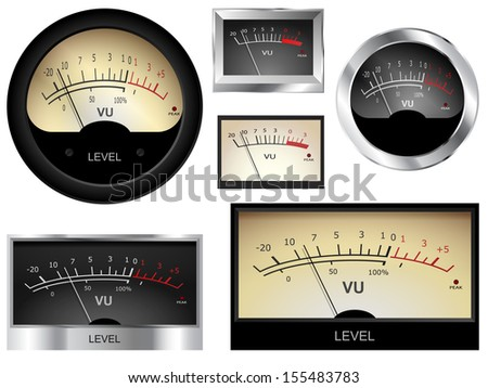 Audio VU meters. Different colors and styles.  - stock photo