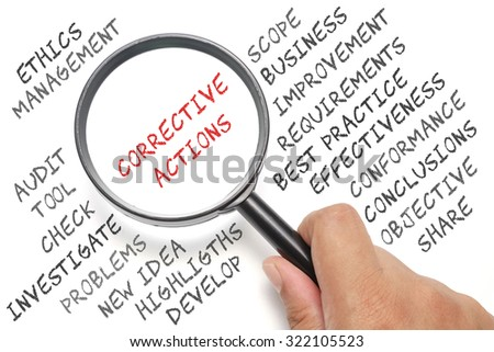 Audit, business conceptual focusing on Corrective Actions - stock photo