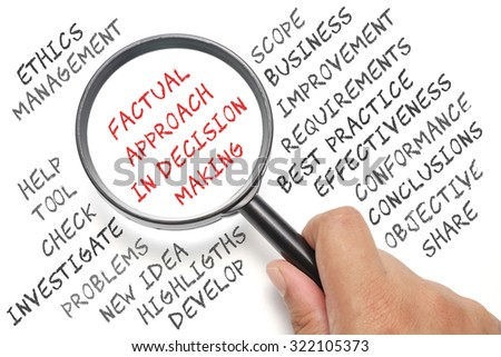 Audit, business conceptual focusing on Factual Approach in Decision Making - stock photo