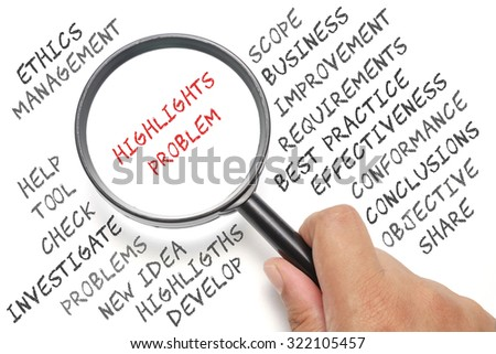 Audit, business conceptual focusing on Highlights Problem - stock photo