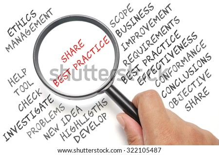 Audit, business conceptual focusing on Share Best Practice - stock photo