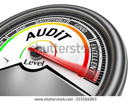 Audit level to maximum conceptual meter, isolated on white background - stock photo