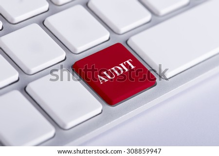 Audit red word on keyboard, business concept - stock photo