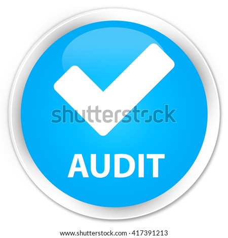 Audit (validate icon) cyan blue glossy round button - stock photo