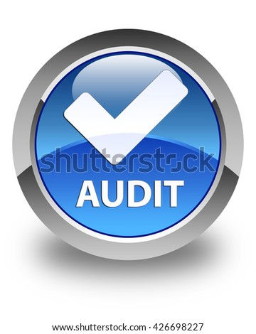 Audit (validate icon) glossy blue round button - stock photo