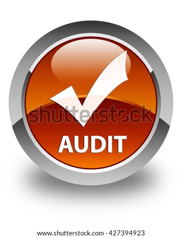 Audit (validate icon) glossy brown round button - stock photo