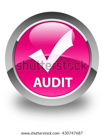 Audit (validate icon) glossy pink round button - stock photo