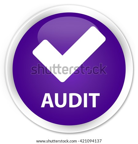 Audit (validate icon) purple glossy round button - stock photo