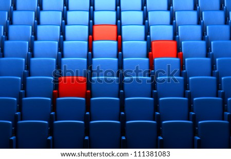auditorium with reserved seats - stock photo