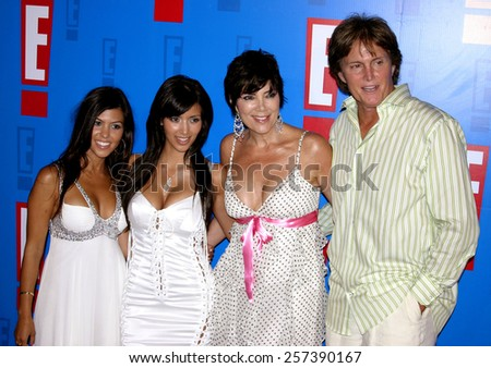 August 1, 2005. Bruce Jenner, Kris Jenner, Kim Kardashian and Kourtney Kardashian attends at the E! Entertainment Television's Summer Splash Event at The Hollywood Roosevelt Hotel in Hollywood. - stock photo