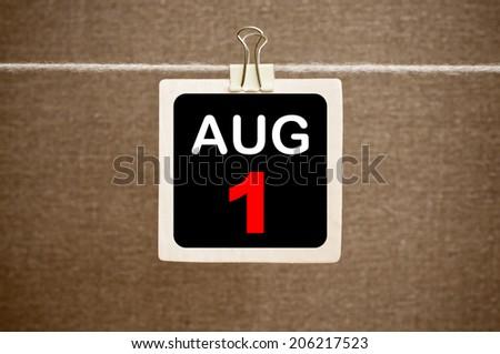 August 1 calendar - stock photo